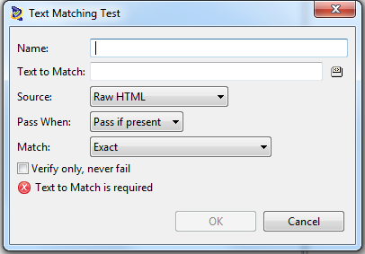 Text Matching Test Dialog Window