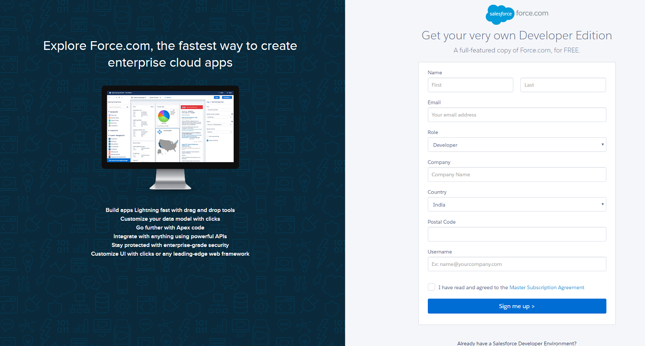 salesforce-sign-up-page